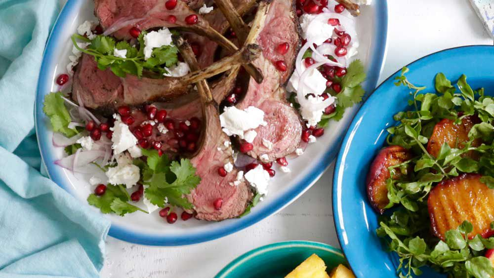 Spiced lamb cutlets with pomegrante and feta recipe