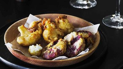 "Recipe: <a href=""http://kitchen.nine.com.au/2016/05/16/15/34/battered-beetroot-and-cauliflower"" target=""_top"">Battered beetroot and cauliflower</a>"