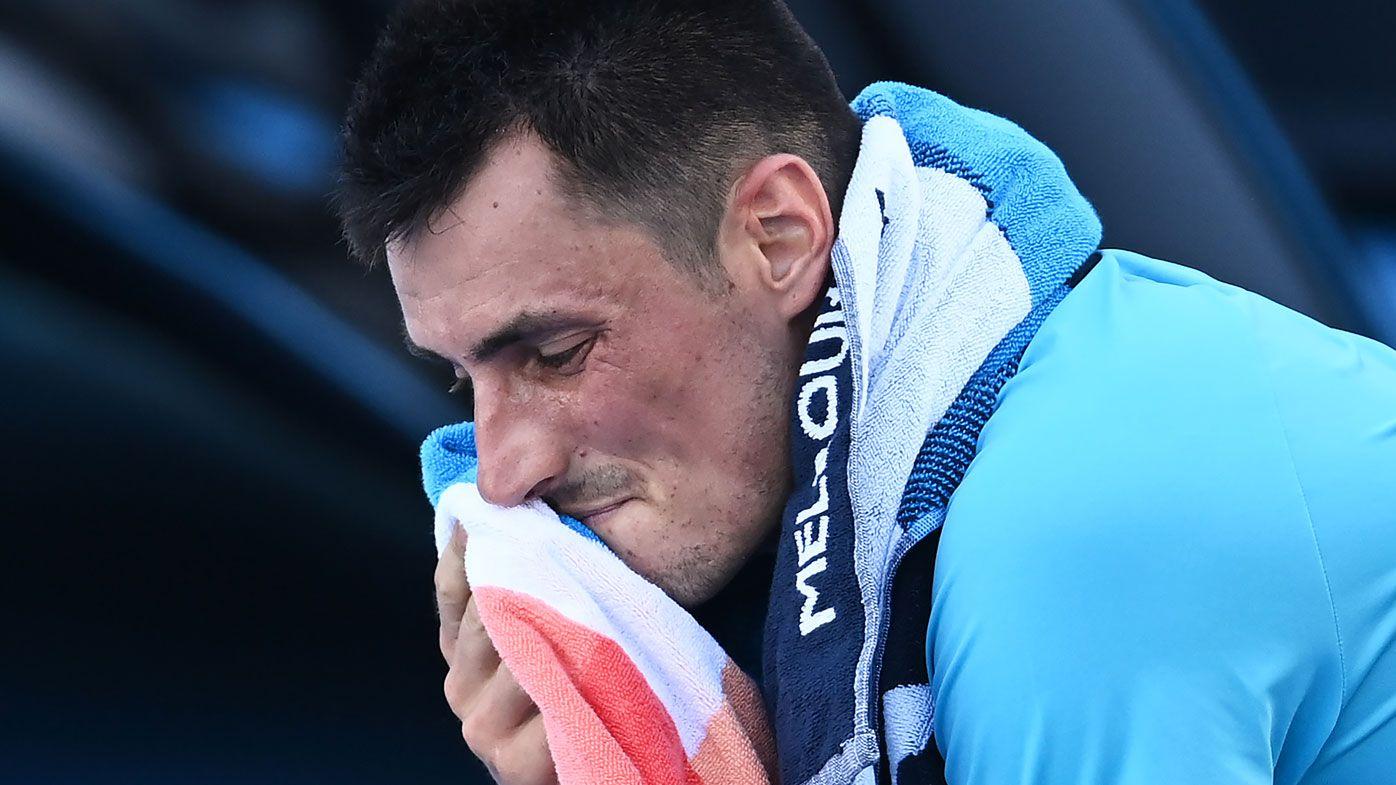 Bernard Tomic sprays his former Davis Cup captain John Fitzgerald after Open loss