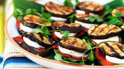 """Recipe: <a href=""""http://kitchen.nine.com.au/2016/05/13/12/44/eggplant-quesadillas-with-spinach-mozzarella-and-roasted-red-capsicum"""" target=""""_top"""">Eggplant 'quesadillas' with spinach, mozzarella and roasted red capsicum</a>"""