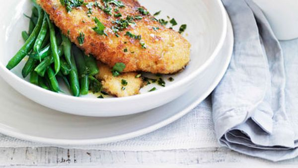 Crumbed chicken with lemon, garlic and herb butter