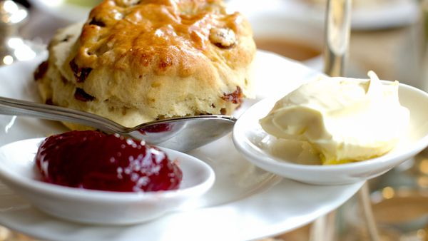 Strawberry jam, cream, scones