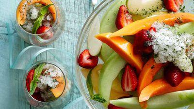 "Recipe:<a href=""https://kitchen.nine.com.au/2016/05/16/13/43/champagne-fruit-salad-with-mint-lime-granita"" target=""_top"" draggable=""false"">Champagne fruit salad with mint lime granita</a>"