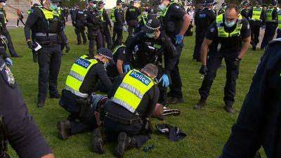 Police arrest protester on the ground.
