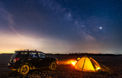 Camping in outback and stargazing