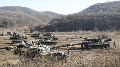 The South Korean side of the border after North Korea launched a missile in November. Photo: AAP