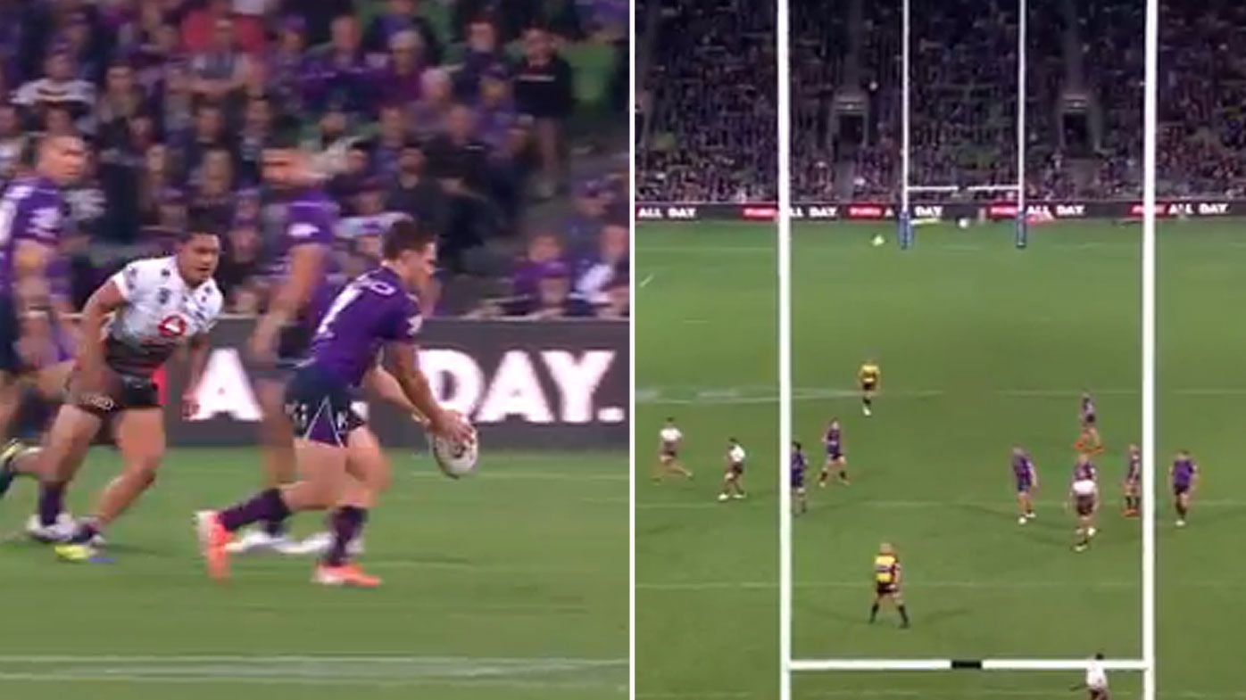 Melbourne Storm half Brodie Croft kicks game-winning field goal to defeat NZ Warriors
