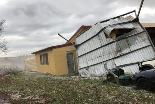 Storm damage to buildings on Damien Tessmann's Qld farm.