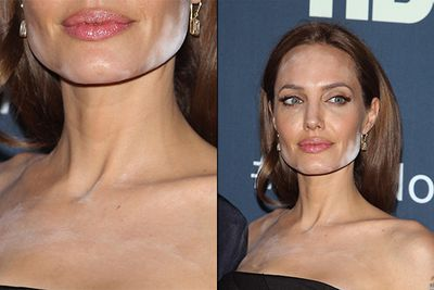 """Angie is usually the picture of classic beauty, but there's something about being covered in white powder that looks decidedly unglamorous. <br/><br/>The powder overload was a rookie make-up artist's mistake, celeb hair and make-up artist, Max May told <i>The Telegraph</i>. """"The powder they have used is specifically designed for HD film, not flash photography."""""""