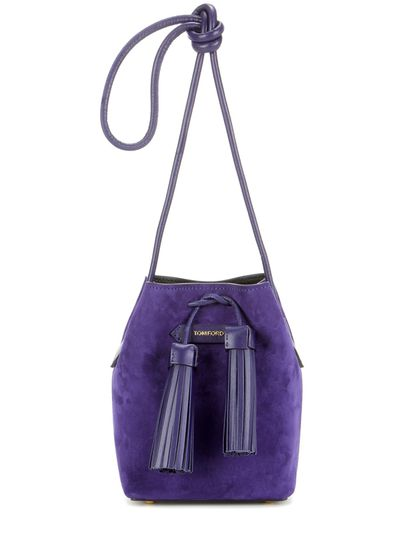 "<a href=""http://www.mytheresa.com/en-au/small-tassel-suede-bucket-bag-563810.html?catref=category"" target=""_blank"">Tom Ford Bucket Bag, $1357</a>"
