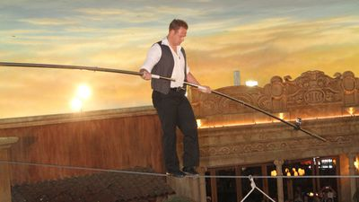 Wallenda walking on a high wire in the Quarter at Tropicana Casino in New Jersey in 2011. (Photo by Tom Briglia/FilmMagic)