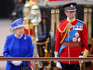 The Queen and Prince Edward, the Duke of Kent at Trooping the Colour in 2013.