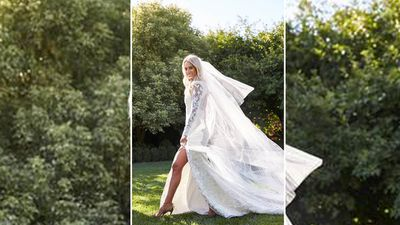 <p>The bride wore a custom Alex Perry gown, as did her bridesmaids.</p>