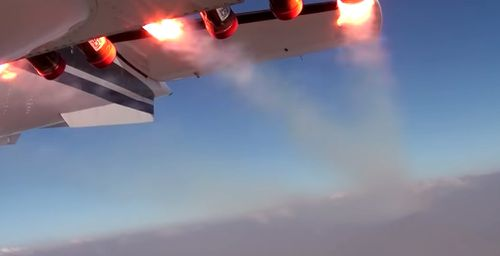The flare system on the plane releases a special mixture designed to trigger rainfall on the UAE.