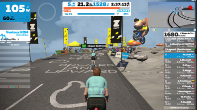 The heads-up-display that you see on your tablet - here I'm finally reacing the finishing line on the the L'Etape du Tour Stage 3
