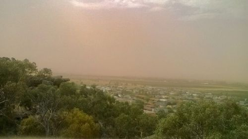 A dust storm is seen approaching Griffith, in the Riverina. (Max Roberts)