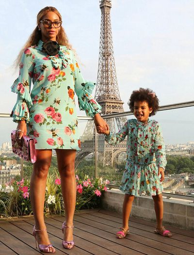 Singer Beyoncé and her daughter Blue-Ivy, 6, in matching Gucci.
