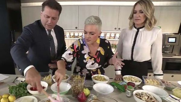 Karl Stefanovic, Jane de Graaff and Leila McKinnon try the viral feta pasta hack on Today Show