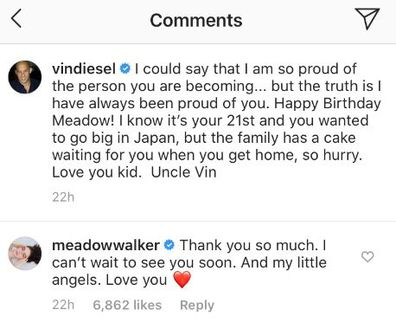 Meadow Walker, birthday greeting, Vin Diesel, Instagram, thank you, message