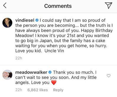 Meadow Walker, birthday greeting, Vin Diesel, Instagram, thank you, message