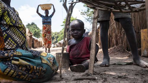 People live in an internally displaced persons camp next to St. Charles Lwanga Church in Seko, Central African Republic.