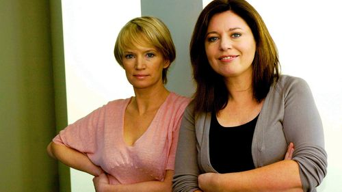 Sydney, October 4, 2004. Jane Turner (left) and Gina Riley, who play the television charactors Kath and Kim, pose for a photograph at the ABC studios.