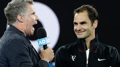 Will Ferrell's awkward interview with Federer after Aus Open win