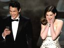 James Franco and Anne Hathaway onstage during the 83rd Annual Academy Awards held at the Kodak Theatre on February 27, 2011 in Hollywood, California.