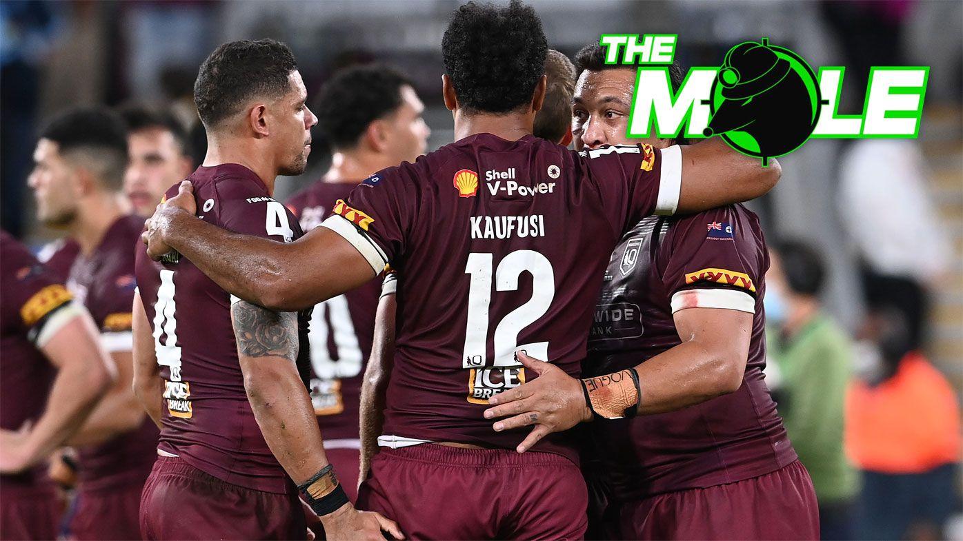 Queensland players gather after losing Origin II.