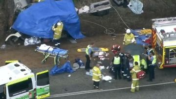 Emergency services on the scene of the smash near the town of Williams in Western Australia.