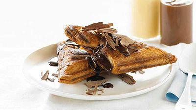 """If this <a href=""""http://kitchen.nine.com.au/2016/05/05/09/57/hot-chocolate-and-custard-croissant-jaffles"""" target=""""_top"""">hot chocolate and custard croissant jaffle</a> recipe isn't the perfect Valentine's Day dessert cheat, then we don't know what is"""