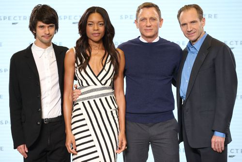 On Her Majesty's Secret Service: Ben Whishaw (Q), Naomie Harris (Miss Moneypenny), Daniel Craig (James Bond) and Ralph Fiennes (M). (Getty)