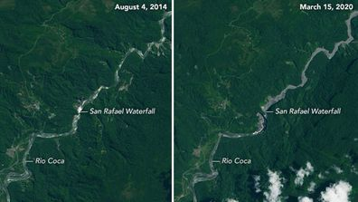 Images of the area near San Rafael Waterfall in Ecuador taken by the Landsat 8 satellite on August 4 2014 and March 13 2020