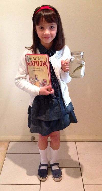 Matilda from Roald Dahl's book of the same name is easy as pie. Jar of water, toy lizard and a cardigan. Winning.