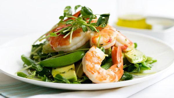 Snow pea, prawn & avocado salad