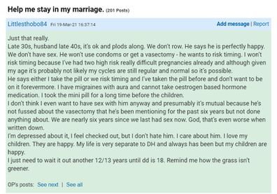Mumsnet post unhappy wife thinking of leaving husband