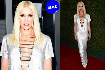 Gwen's rockstar chic looks better onstage than on the red carpet.