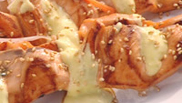 Teriyaki glazed salmon skewers with wasabi mayonaise