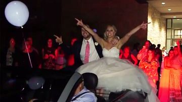 Newlyweds ejected from car after driver makes pedal mishap