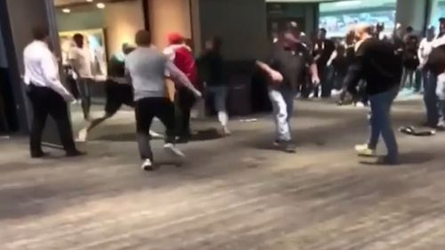 The fight erupted inside Adelaide Oval's Margarey Room. (9NEWS)