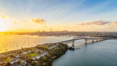 Auckland, New Zealand at sunset