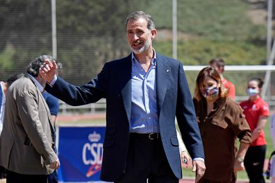 King Felipe VI of Spain reacts during a visit at the CAR Sports Center on June 08, 2020.