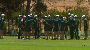 The Australian Test squad at training in Adelaide today. (9NEWS)