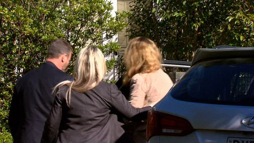 The teenagers' mother, Olga Edwards (right), returned to the West Pennant Hills home for the first time. Picture: 9NEWS