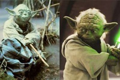 Yoda seemed to lose his charm with the overuse of CGI. His once subtle and limited puppet facial expressions became so complex in the prequels that they came across as comical.