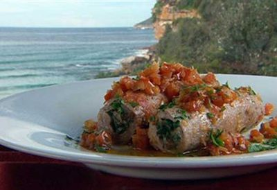Veal involtini with pine nuts