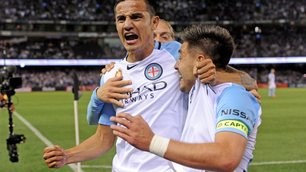 Melbourne City stars Tim Cahill and Bruno Fornaroli. (AAP)