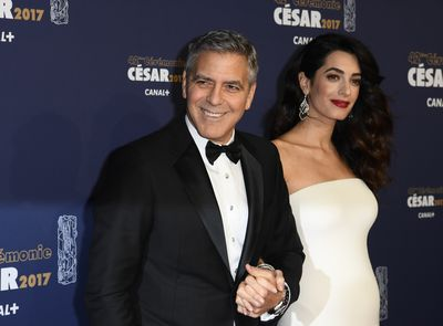 Nothing sets off a pregnancy glow like a pair of over-sized diamond drop earrings. No doubt Amal's are the genuine article. But there are less expensive to ways to get a touch of sparkle.