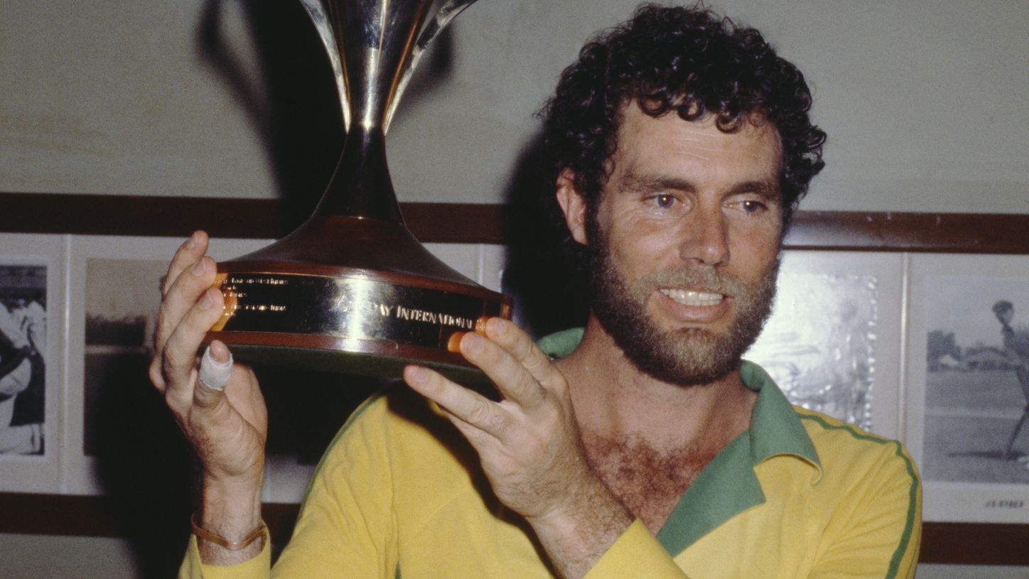 Greg Chappell holding the World Series Cup after Australia beat New Zealand at the SCG in 1981.