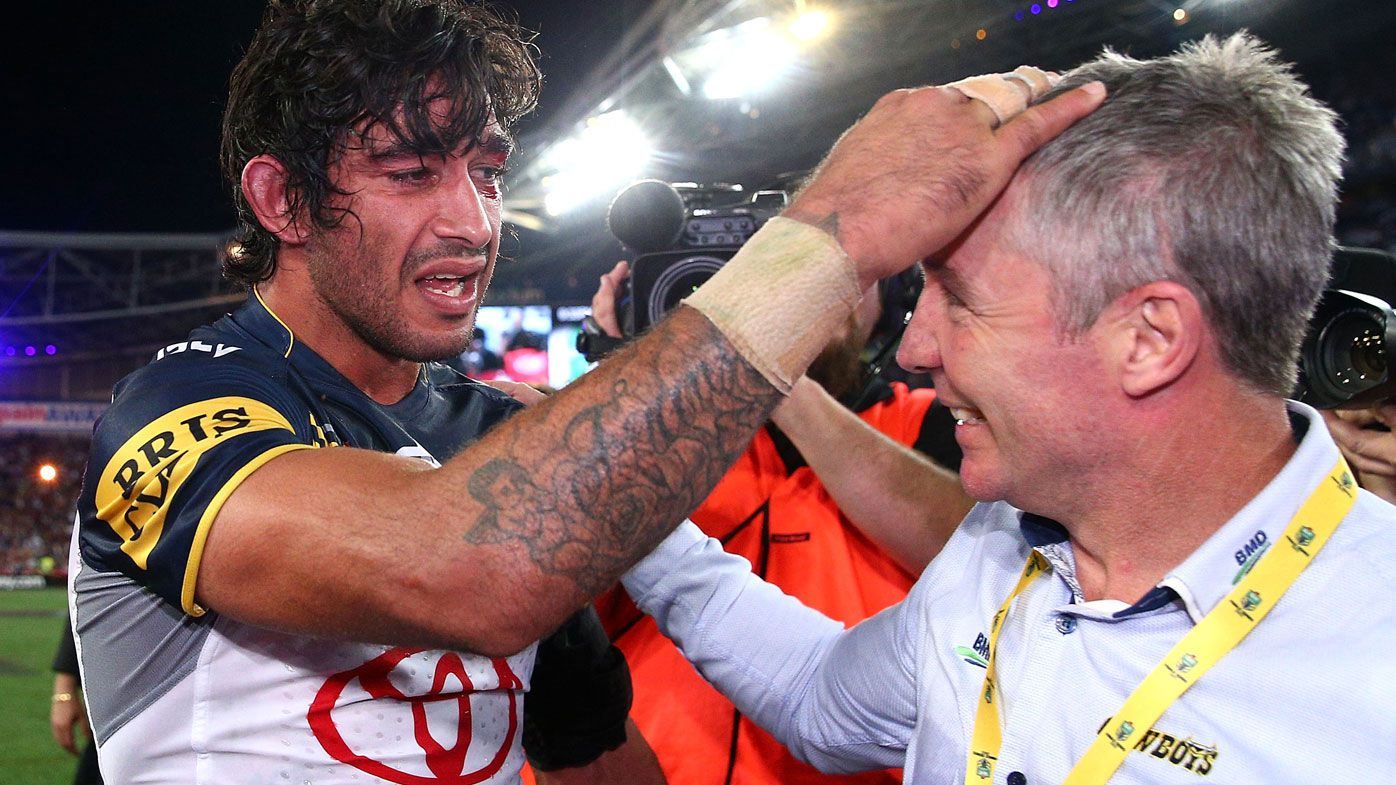 Johnathan Thurston and Paul Green celebrate after their iconic 2015 NRL premiership.
